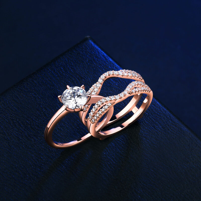 Women Wedding Rings Engagement Ring Set Rose Gold Round Aaaaa Cz Sterling Silver