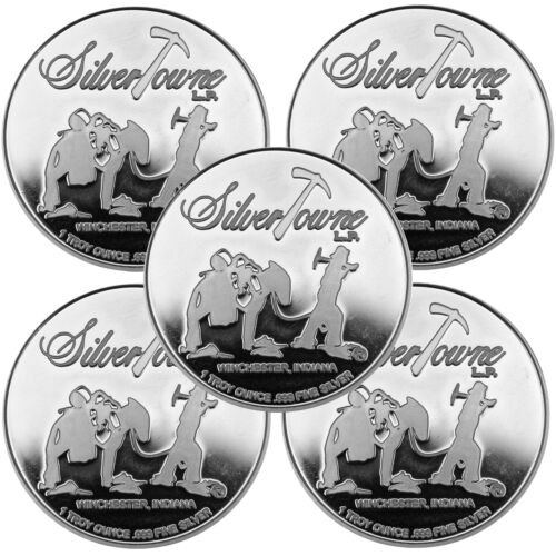 SilverTowne Trademark Logo 1oz .999 Fine Silver Medallion LOT OF 5