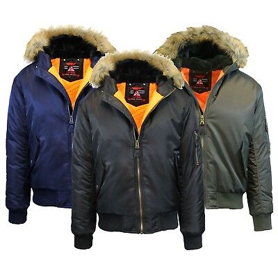 Mens Heavyweight MA-1 Flight Jacket With Fur Hood Warm Winters Full Zip-Up NEW