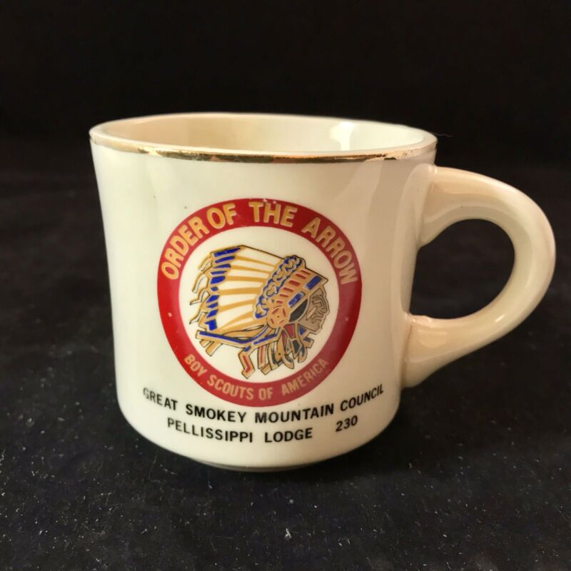 Vtg 70s Boy Scouts Of America Order Of The Arrow Coffee Cup Smokey Mountains