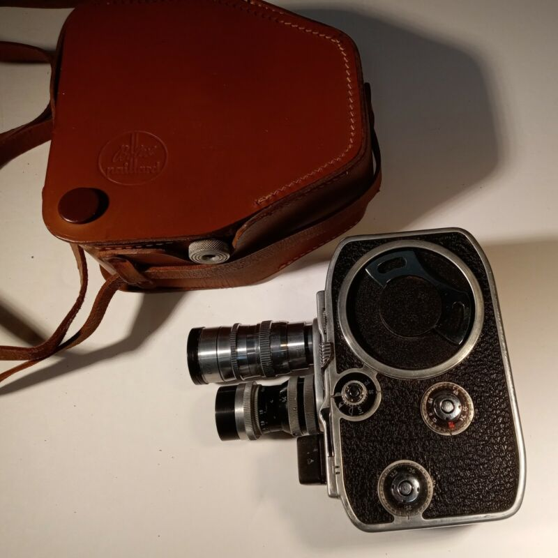 Vintage Paillard-Bolex Movie Camera B-8 with original leather case VGC Working!