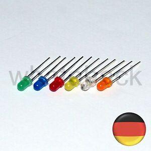 60x LED 3mm Set + 12V Widerstand (10x Blau Weiß Rot Grün Gelb Orange) LED3 Hell
