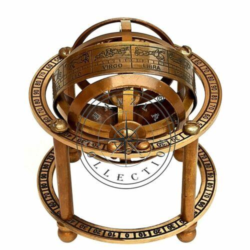 Collectible Antique Brass Armillary Sphere Maritime Nautical Astrolabe Globe
