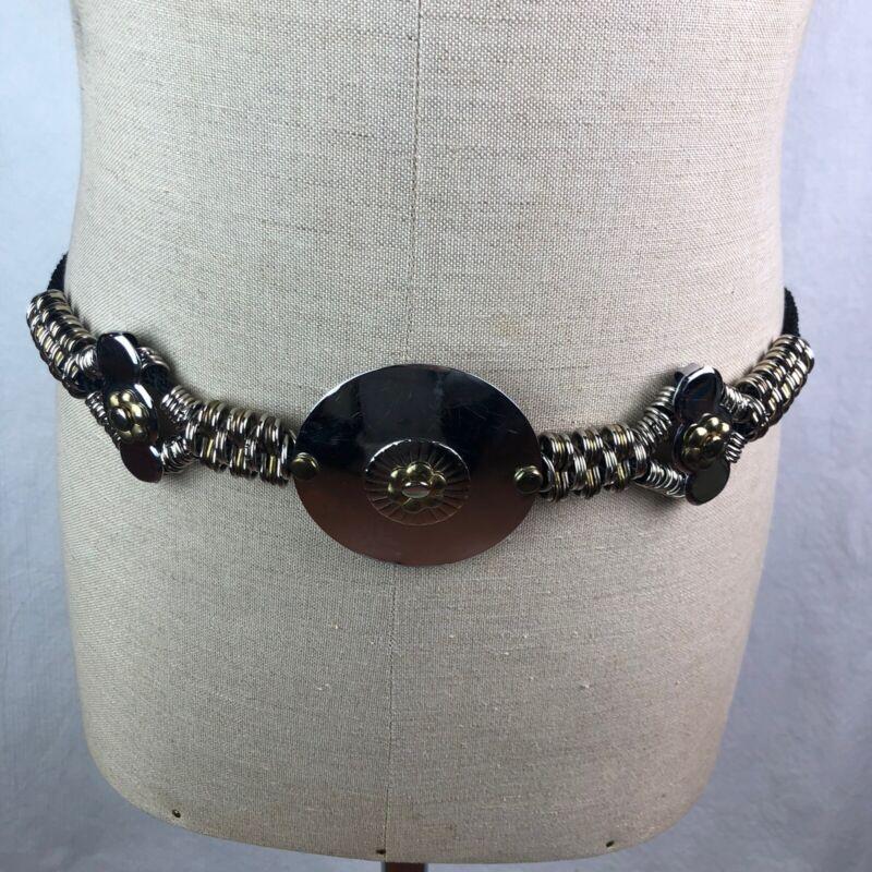 Vintage 70s 80s Gold Silver Tone Metal Medallion Cinch Belt Rope Adjustable
