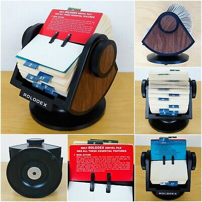 Large Rolodex Sw-24 W Wood Grain Swivel Rotary Base 100 Blank Cards Open Design