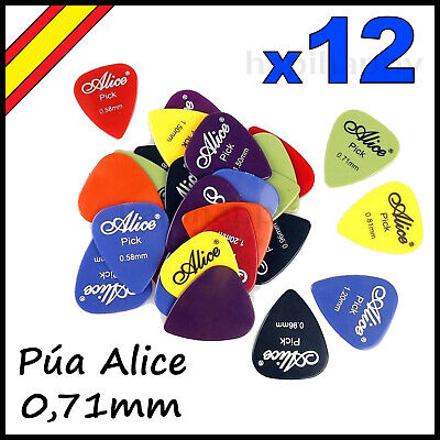Pua Guitarra 0,71mm Talla M Bajo Electrica Acustica Alice Mediana Púa [x12...