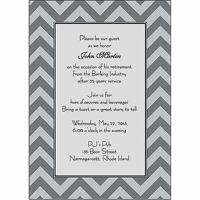 25 Personalized Retirement Party Invitations  - RPIT-24 Black and White Chevron (Black And White Party Invitations)