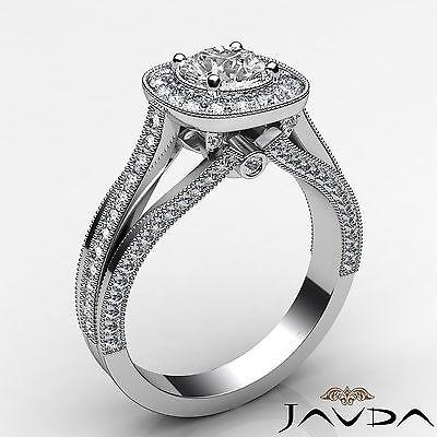 Milgrain Halo Pave Bezel Set Round Cut Diamond Engagement Ring GIA D VVS1 1.40Ct 1