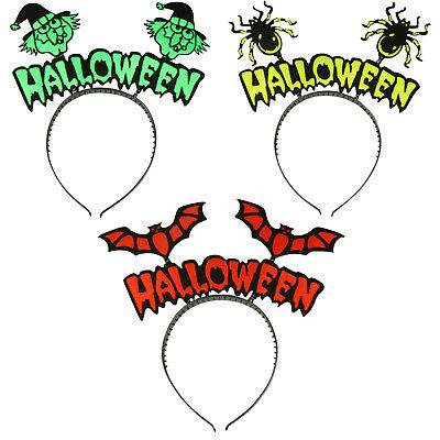 Halloween Bopper Headbands (HALLOWEEN BOPPER HEADBAND BAT HAIR BAND SPIDER ALICE BAND WITCH HEAD BAND)