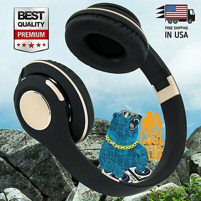 Wireless Foldable Headphone Stereo Earphone Super Bass Headset w/ Mic Work w/ BT