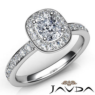 Halo Pave Setting Cushion Cut Diamond Engagement Cathedral Ring GIA H VS1 0.87Ct