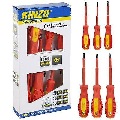 Kinzo 6pc Electricians Insulated Vde Screwdriver Tool Set Magnetic Tip Philips