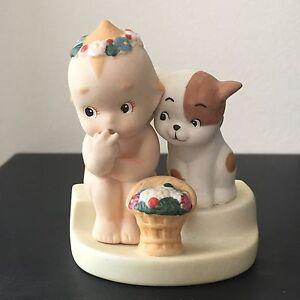 Rose O'Neill Kewpie with dog porcelain figurine Kato Kogei Japan