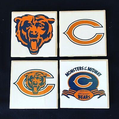 4 pack ceramic coasters, chicago bears football, mancave bar kitchen coasters ()