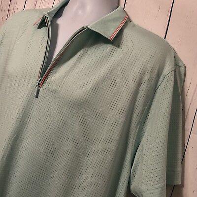 "IJP Designs Ian Poulter Golf Polo Shirt Mint Green Pink Zipper Men's ""Sz 2XL"" for sale  Trenton"