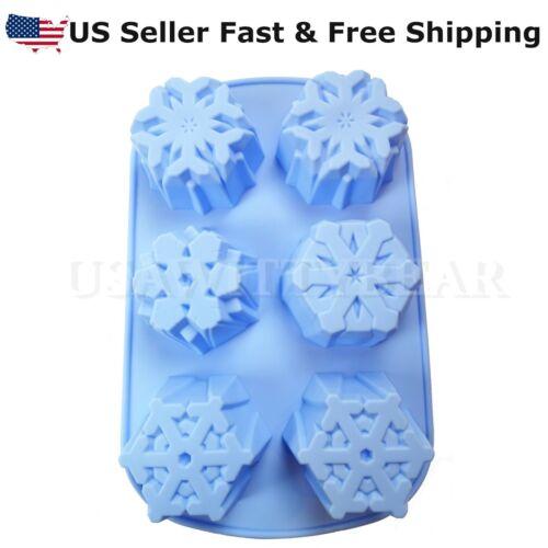 6-Cavity Snowflake Shaped Christmas DIY HANDMADE SOAP CANDLE MOLD US Seller