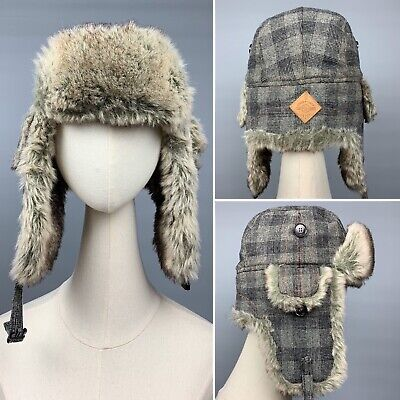 Men's PAUL SMITH Trapper Hat Grey Checked Wool blend Padded Chapka Size Small