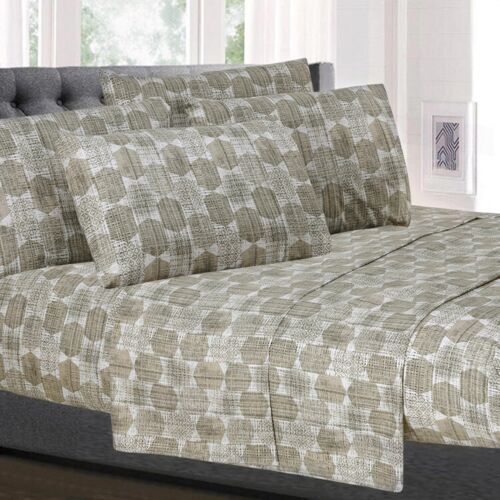 Monaco Taupe Geometric Printed 6-Piece 1500 Thread Count Sheet Set Bedding