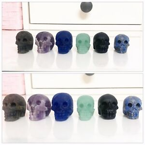 6 Pieces Carved Quartz Crystal Mini Skulls Without Polishing BN