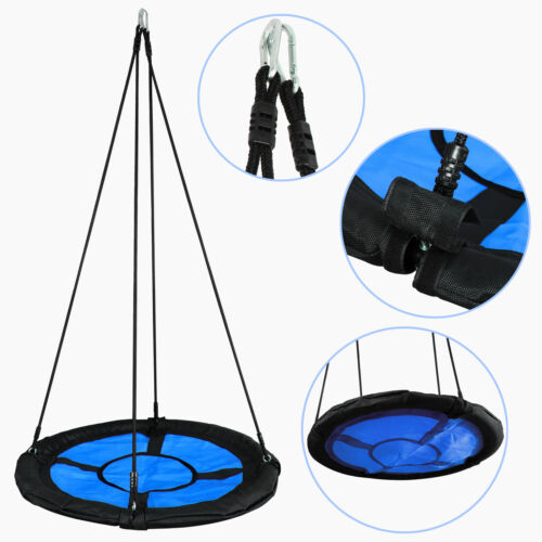 "40"" Kids Round PE Rope Tire Saucer Oxford Tree Web Net Swing"