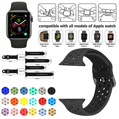For Apple Watch iWatch Series 12 34 38/40/42/44mm Soft Silicone Sport Strap Band