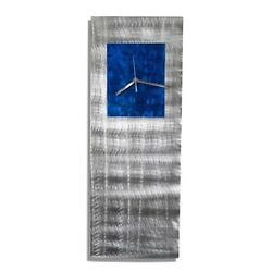 Statements2000 Metal Wall Clock Art Modern Silver Blue Decor by Jon Allen