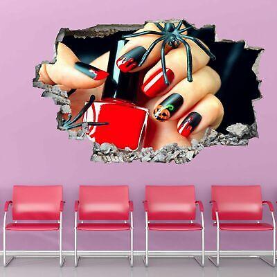 Halloween Nail Art 3D Wall Sticker Mural Decal Manicure Beauty Salon Decor GP26