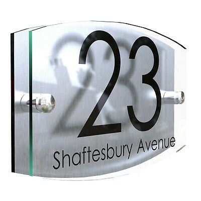Contemporary House Sign Plaque Door Number 1 - 999 Personalised Name Plate House Door Signs