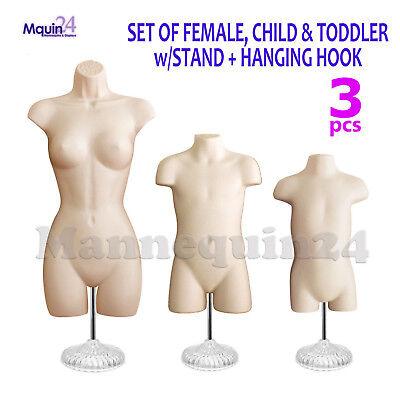 Female Child Toddler Torso Mannequin Set In Flesh 3 Stands 3 Hangers