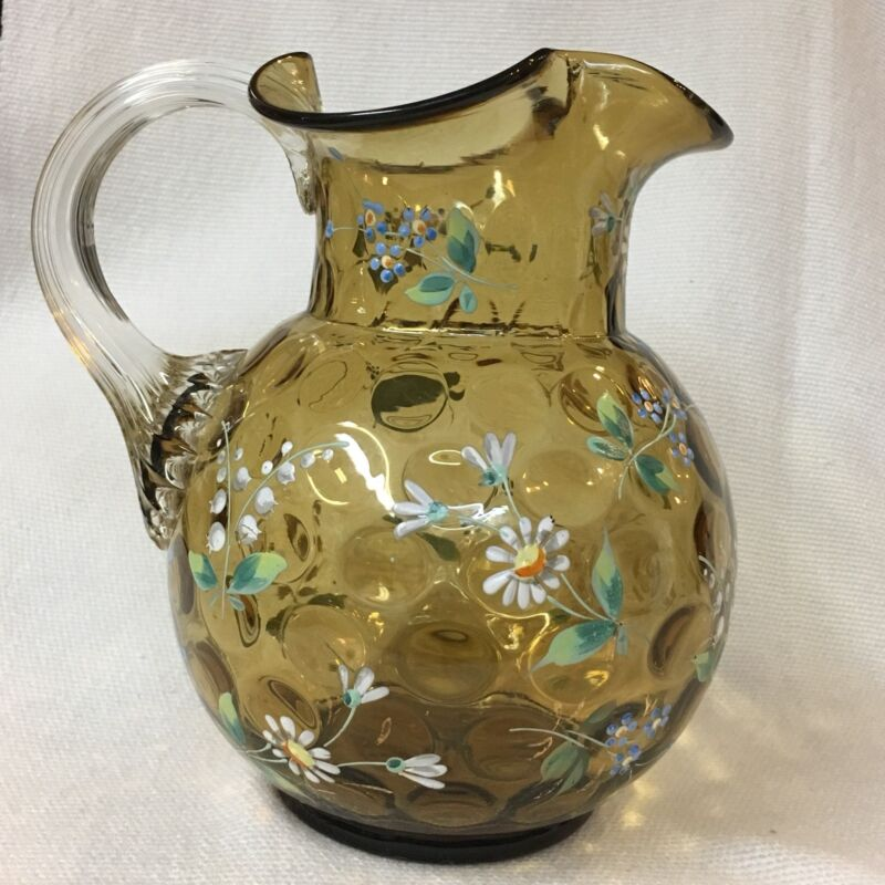 HAND BLOWN, AMBER COIN SPOT GLASS PITCHER ~ ENAMELED FLOWERS, REED HANDLE