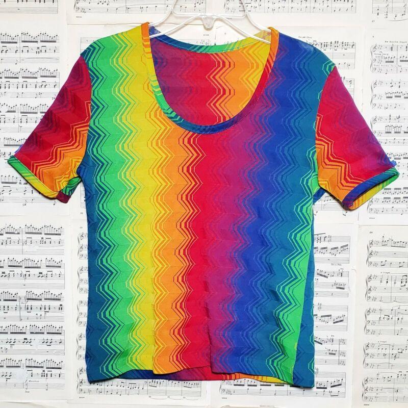 Vintage Rainbow Chevron Mesh Knit Top