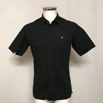 Vivienne Westwood Shirt Mens Size M Black 100% Cotton Short Sleeve Casual 031945
