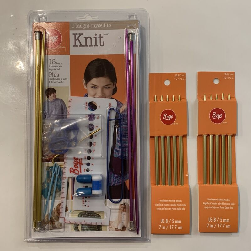 """(1) Boye New """"I Taught Myself To Knit"""" Kit and (2) doublepoint knitting needles"""