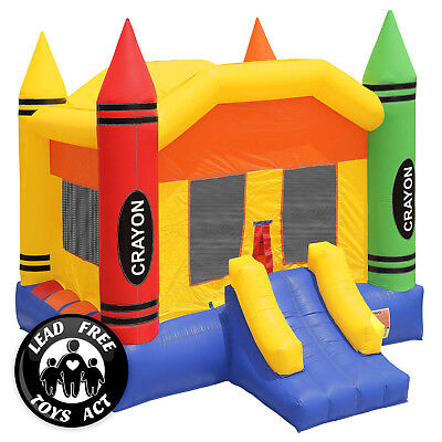 Inflatable Castle - Commercial Grade 17x13 Bounce House 100% PVC Inflatable Crayon Castle w Blower