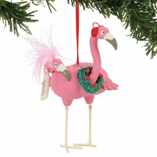 Pink Flamingo Bird Ornament Flamingling wearing Christmas Wreath New Dept 56