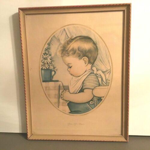 Vintage Charlotte Byi Framed Print Boy Praying Charlot Byj  prayer Nursery ART