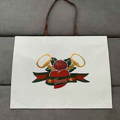 Vintage White Embossed GUCCI Paper Bag Banner Logo Fabric Handles Gold Red Green