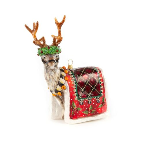 NEW MacKenzie Childs ABERDEEN REINDEER Glass Ornament & Gift Box  A STATELY STAG