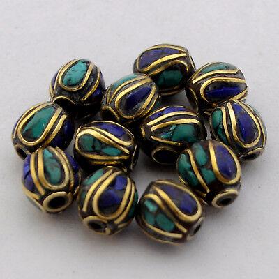 Turquoise Lapis Brass 12 Beads Tibetan Nepalese Handmade Tibet Nepal UB2572