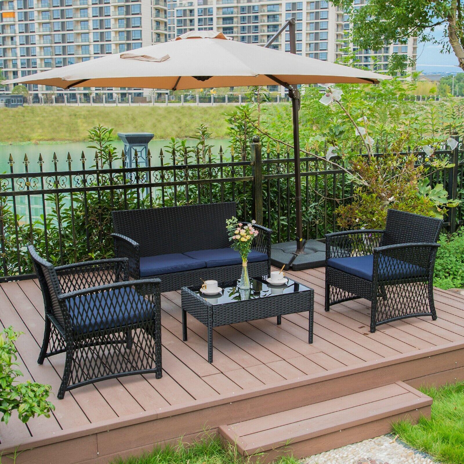 Garden Furniture - 4PC Furniture Wicker Rattan Patio Outdoor Conversation Sofa Set Garden Table