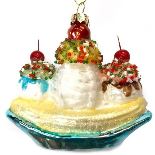 Ice Cream Banana Split Christmas Tree Ornament Dessert Cherry Sundae R