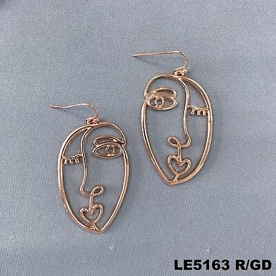 (Unique Rose Gold Tone Finished Picasso Face Design Drop Dangle Hook Earrings )