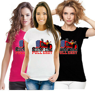 AMERICAN FOLK C&W COUNTRY & WESTERN MUSIC COUNTRY GIRLS PULL EASY LADIES T SHIRT