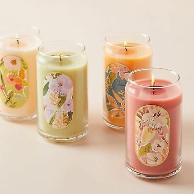 Anthropologie Spring's Eden Floral Paper Wrapped Glass Candle 12.5oz.