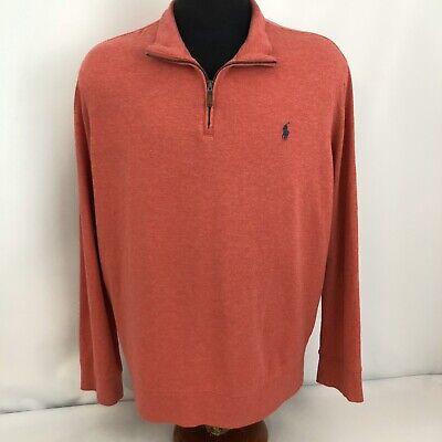 Polo Ralph Lauren Mens 2XL XXL Soft Sweater Pullover Shirt Jacket Orange Pink