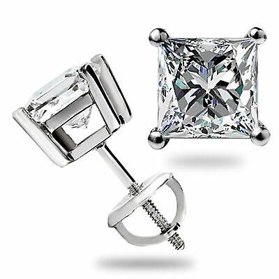 3.1 Ct Solitaire Princess Cut Stud Earrings Lab Diamond 14K White Gold