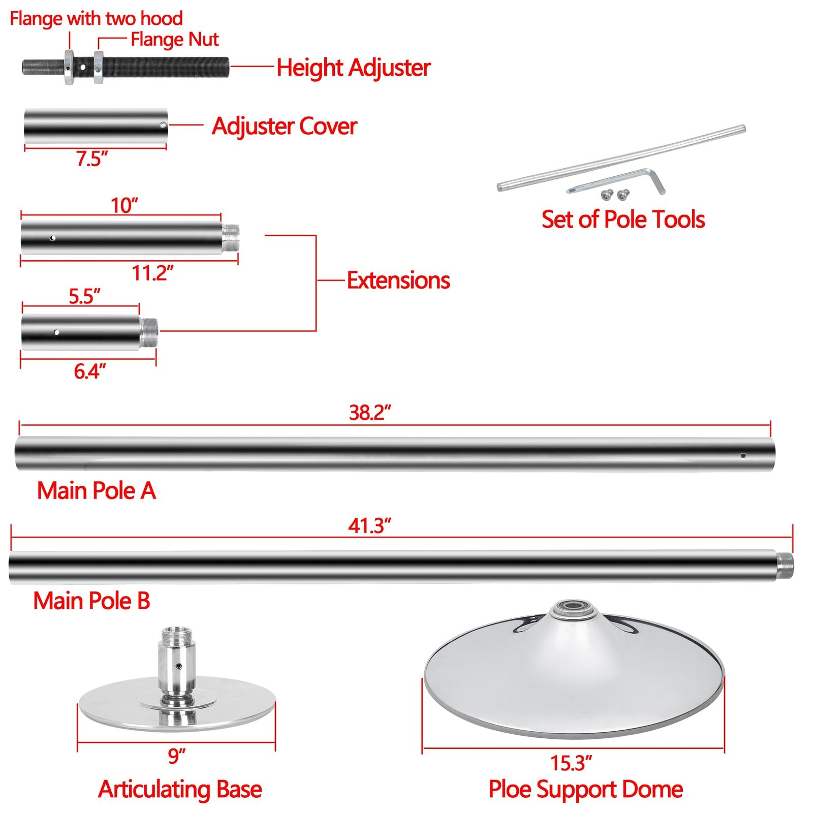 9FT Portable Steel Dance Pole Full Kit Fitness Dancing Stripper Exercise Club Pa Dance Poles & Accessories