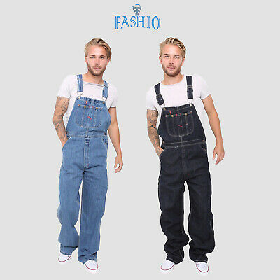 Men's Denim Dungarees Jeans Bib and Brace Overall Pro Heavy Duty Workwear - Denim Bib Overall