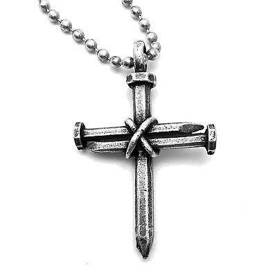 Christian Cross Jewelry Pendant (3 Nails Cross Necklace (aa3) Wire Wrapped Nail Pendant - Christian)