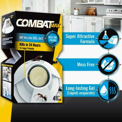 COMBAT MAX ANT Killing GEL BAIT traps  (simple 4 bait stations per pack)  NWT